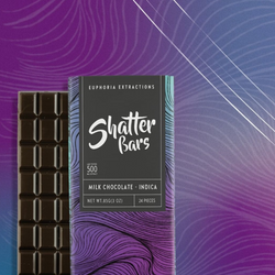 *- INDICA - Shatter Bars (500mg) by Euphoria Extractions (Milk Chocolate) !SALE! Reg. $40
