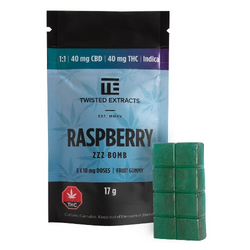 40mg 1:1 Raspberry Zzz Jelly Bomb by Twisted Extracts (THC: 40mg, CBD: 40mg)