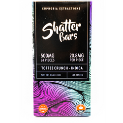 500mg Indica  Toffee Crunch Shatter Bar