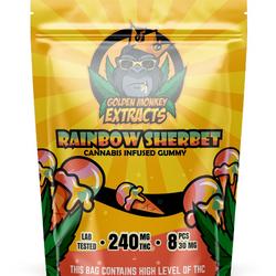 Golden Monkey THC Gummies - Rainbow Sherbert