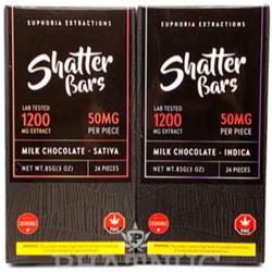 Euphoria Extractions Shatter Bars Indica & Sativa Milk Chocolate 1200MG