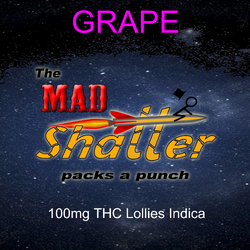 The Mad Shatter Grape Lollies 100mg THC Indica 4 for 20$