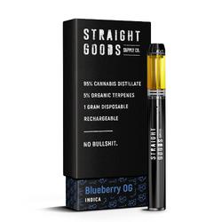 """STRAIGHT GOODS - DISPOSABLE - """"BLUEBERRY OG"""" (1G)"""