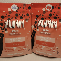 Yumm Sour Cola Bottles 500mg, Indica or Sativa