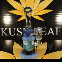 "9"" Blue Cheech Glass Stemless Animal Rig / Bong includes 14mm 90 Degree Slurper Quartz Banger"