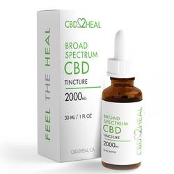 CBD2HEAL Broad Spectrum CBD Oil Tincture 2000mg (30 ml Bottle)