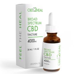 CBD2HEAL Broad Spectrum CBD Oil Tincture 4000mg (30 ml Bottle)