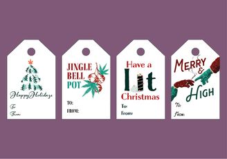 Printable Cannabis Christmas Tags