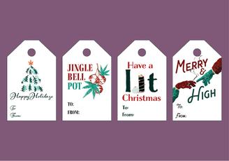 Printable Cannabis Christmas Tags